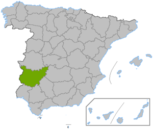 Battle of Maguilla - Image: Localización provincia de Badajoz