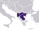 Roman province: Macedonia occupied areas outside the contemporary geographical area to the West (approximate borders of maximum extent).
