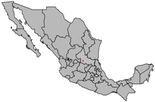 Location o San Luis Potosí in central-north Mexico
