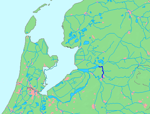 Zwarte Water - Location of the Zwarte Water river within the Netherlands.