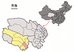 Yushu (red) in Yushu Tibetan Autonomous Prefecture (yellow) and Qinghai