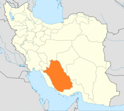 Map of Iran with Fars highlighted