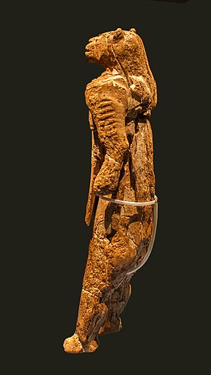 Lion-man - Löwenmensch, a lion-headed figurine found in Germany, dating to the Upper Paleolithic of about 35,000 to 40,000 years ago