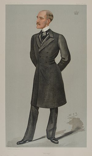 "John Baring, 2nd Baron Revelstoke - ""Barings"" Lord Revelstoke as caricatured by Spy (Leslie Ward) in Vanity Fair, August 1898"