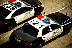 Los Angeles County Sheriff's Department - LAPD and LASD Metro patrol cars, side by side.