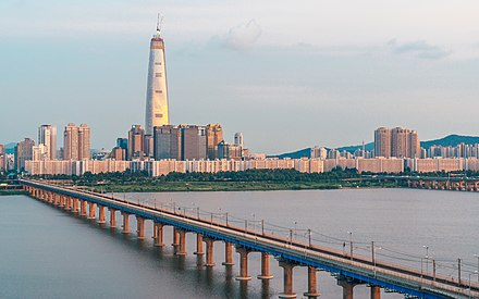 Lotte World Tower and Jamsil Railway Bridge Lotte World Tower at sunset.jpg