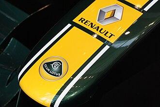 Team Lotus (2010–11) - Image: Lotus T128 nose logo 2011 Malaysia