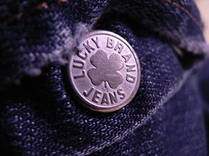 Lucky Brand Jeans - Button on the fly of a pair of Hendrix Lucky Brand Jeans.