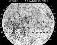 Map of Moon showing prospective sites for Apollo 11. Site 2 was chosen.