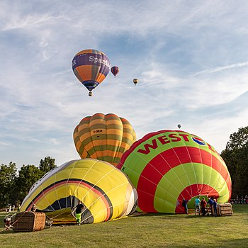 Hot air balloons at the 49th Montgolfiade in Münster (1st race), North Rhine-Westphalia, Germany