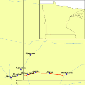 Minnesota Southern Railway - Image: MSWY Map