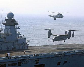 HMS Illustrious (R06) - A V-22 Osprey landing on the rear flight deck of Illustrious in the Atlantic Ocean in 2007