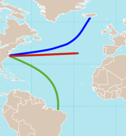Approximate routes of the Geysir: From the U.S. East Coast to Iceland, Azores, and Brazil.