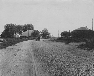 Macadam - Photograph of macadam road, ca 1850s, Nicolaus, California
