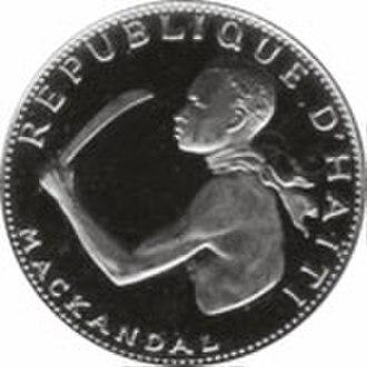 Slavery in Haiti - François Mackandal on a 20 gourde coin, 1968