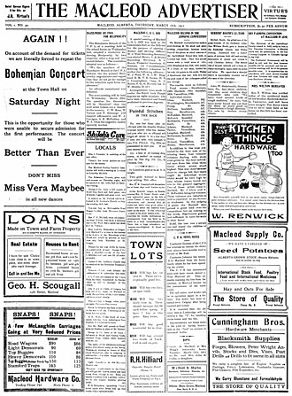 Fort Macleod - Image: Macleod Advertiser March 16 1911