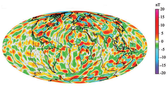 A model of short-wavelength features of Earth's magnetic field, attributed to lithospheric anomalies Magnetic Field Earth.png