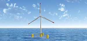 Offshore wind power - The patent-pending VolturnUS floating concrete hull technology can support wind turbines in water depths of 45 meters or more, and has the potential to significantly reduce the cost of offshore wind. This technology was developed by the UMaine Advanced Structures and Composites Center.