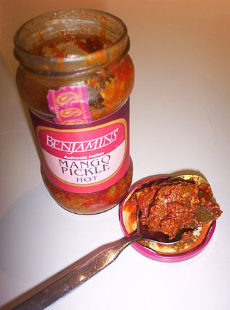 South Asian pickles - Indian spicy mango pickle.