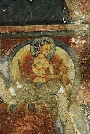 Mangyu temple complex - Female deity - Mangyu, Ladakh.jpg