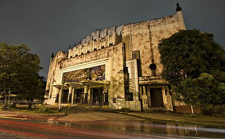 The façade of the Manila Metropolitan Theater, designed by Juan M. Arellano Manila Metropolitan Theater or commonly called the Met, an abandoned art deco building in the heart of Manila.jpg