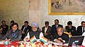 Manmohan Singh addressing the Conference of Vice Chancellors of Central Universities, at Rashtrapati Bhawan, in New Delhi. The President, Shri Pranab Mukherjee and the Minister of State for Human Resource Development.jpg