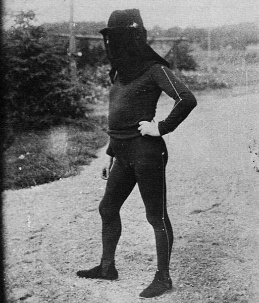 File:Mann trägt für ein Experiment einen schwarzen Anzug, der weiße Linien entlang der Glieder hat 1883.jpg