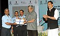 Manohar Parrikar awarded the certificates and placement letters to the skill trained IAF personnel, at the Skill India's First-ever placement ceremony of retiring Indian Air Force personnel, in New Delhi.jpg