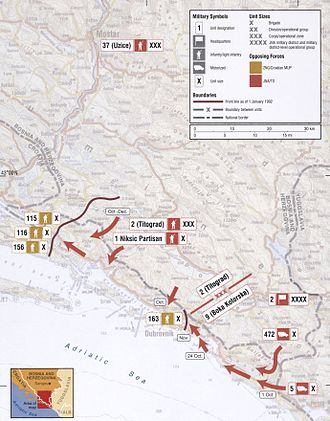 Siege of Dubrovnik - Map of the JNA advance to Dubrovnik in 1991