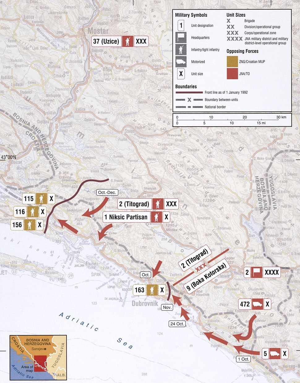 Map 7 - Croatia Dubrovnik - October 1991 - January 1992