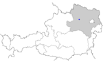 Map of Austria, position of Aggsbach highlighted