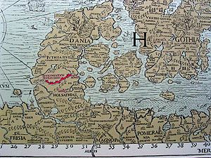 Danevirke - The Danevirke (shown in red) on the 16th-century Carta Marina