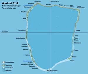 Apataki - Image: Map of Apataki Atoll