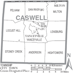 Map of Caswell County North Carolina With Municipal and Township Labels.PNG