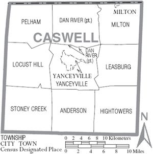 Map of Caswell County, North Carolina With Municipal and Township Labels