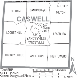 Caswell County, North Carolina - Map of Caswell County, North Carolina with municipal and township labels
