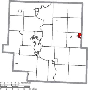 New Concord, Ohio - Image: Map of Muskingum County Ohio Highlighting New Concord Village