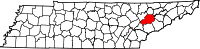 Map of Tennessee highlighting Knox County