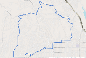 Hollywood Hills West, Los Angeles - The Hollywood Hills West neighborhood of the city of Los Angeles, as drawn by the Los Angeles Times
