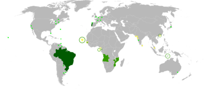 Map of the portuguese language in the world