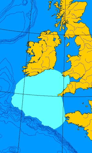 Action of 15 October 1917 - Map of the Celtic Sea, part of the Atlantic Ocean