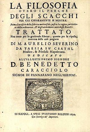 Marco Aurelio Severino - La filosofia overo il perche degli scacchi, 1690