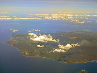 Tayabas Bay - The island of Marinduque within the bay with the coast of Quezon in the background