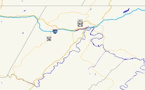 A map of western Allegany County, Maryland showing major roads.  Maryland Route 49 is the local road connecting La Vale and Cumberland over Haystack Mountain.
