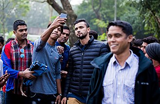 Mashrafe Mortaza - Fans taking selfie with Mortaza in 2017.