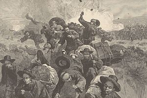 Seattle riot of 1886 - An illustration of the massacre of the Chinese at Rock Springs, Wyoming from Harper's Weekly Vol.29, 1885.