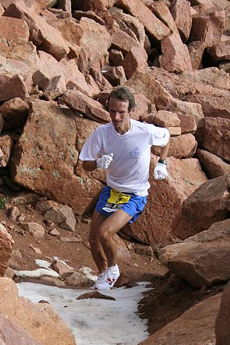 Manitou Springs, Colorado - Matt Carpenter, 42, approaching the summit of Pikes Peak during the 2006 Pikes Peak Marathon. Carpenter reached the summit in 2:08:27 on his way to a 3:33:07 win in the Marathon.
