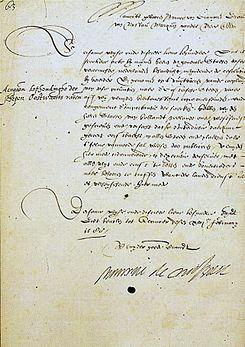 Maurício de Nassau - Carta manuscrita assinada (1588)