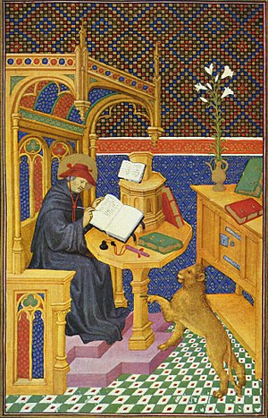 Robert Thornton (scribe) - A 15th-century French depiction of a scribe (Saint Jerome). Unlike most scribes whose work has survived from this time, Thornton was neither a professional nor a cleric.