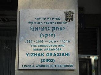 Izhak Graziani - Memorial Plaque was Placed in Tel Aviv